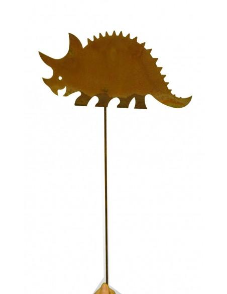 kleiner Edelrost Dino auf Stab Gartenstecker Triceratops