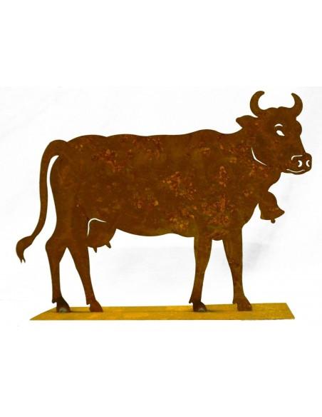 Edelrost Kuh klein 30 x 20 cm auf Platte Original Allgäuer Rostkuh