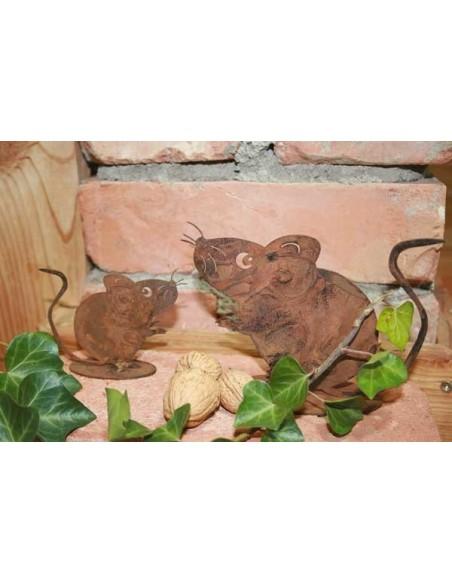 Maus als Gartendeko Rost