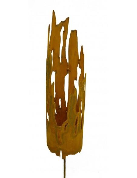 Edelrost Windlicht Treibholz / Fackel auf Stab mit Platte