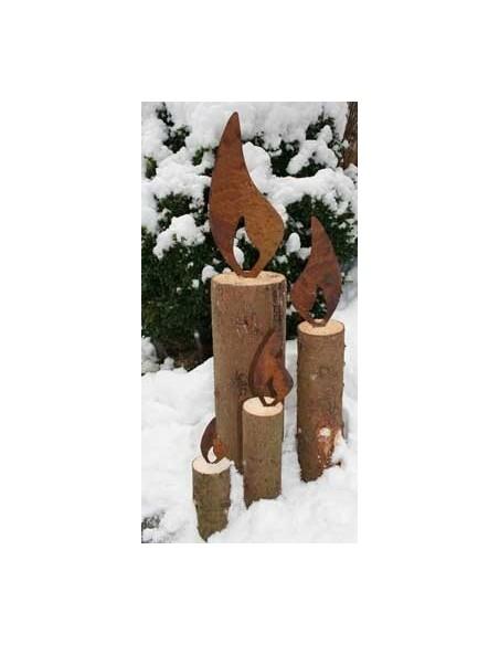 Rostflamme als Weihnachtsdeko verschiedene Größen