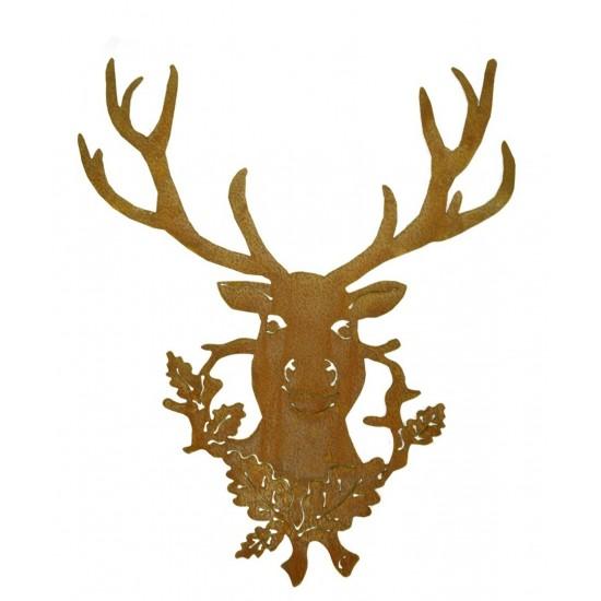Rostige Hirschtrophäe 50 x 60 cm Wandbild Hirsch aus rostigem Metall