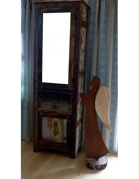 Gartendeko Rost Engel Veronika mit Holz 100 cm hoch -angeflammt- Edelrost