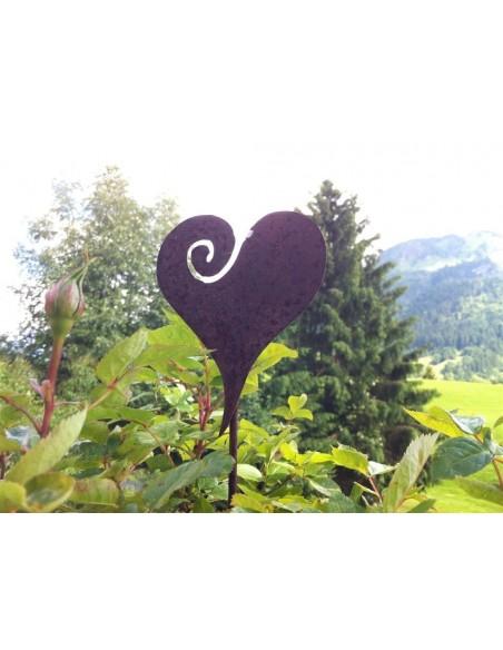 Frühling / Ostern Herz Gartenstecker Curl Ø 15 cm (M) in Edelrost Stablänge 50 cm kleiner Gartenstecker mit Herz in Edelrost Dur