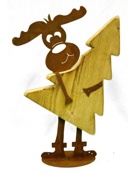 Rost Elch Max mit Baum aus Fichtenholz Dekoelch Metall