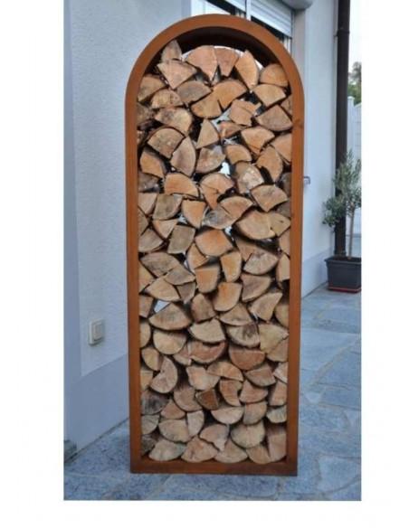 "Edelrost Holzregal ""Bogen"" 160 cm hoch"