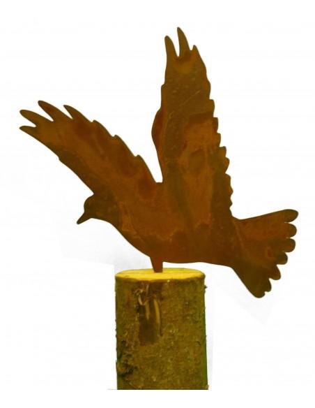 Taube auf Baumstamm -Metallsatz-