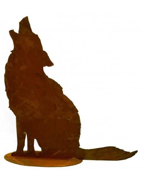 heulender Rost Wolf auf Platte H 72cm, B 70cm