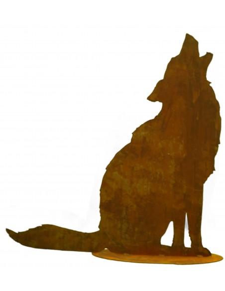heulender Edelrost Wolf auf Platte H 72cm, B 70cm
