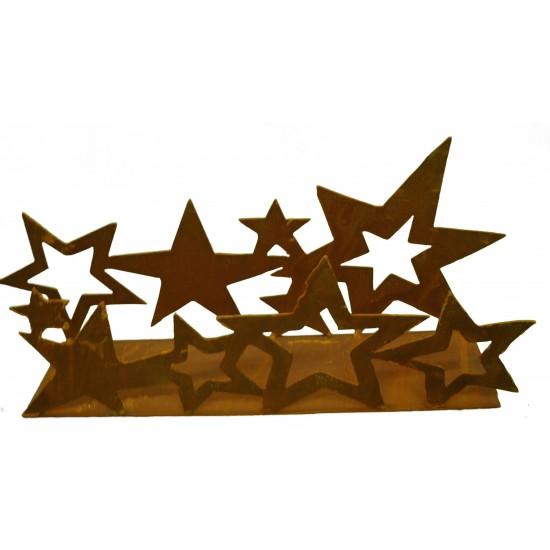 Deko Sternenband aus Edelrost doppelt auf Platte 40 cm breit