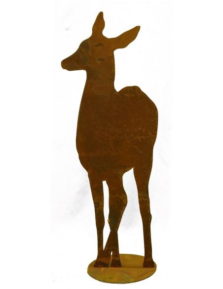 Edelrost Reh von vorne, H 80cm B 30cm, mit Platte