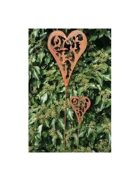 Rost Herz Gartenstecker Madera auf Stab groß