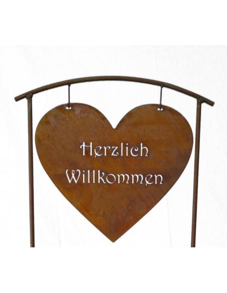 Edelrost Topfständer -Herzlich Willkommen- inkl. Krone Ø 32cm