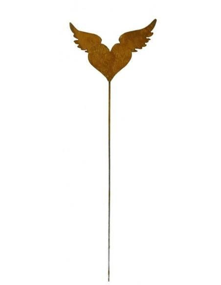 Rost Herz mit Flügeln auf Stab  B23cm, H15cm, Stab 80cm