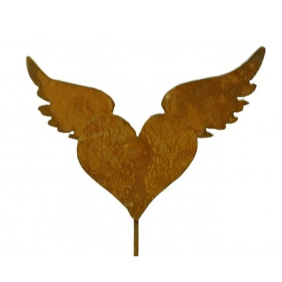 Rost Herz mit Flügeln auf Stab Gr1 B23cm, H15cm, Stab 80cm