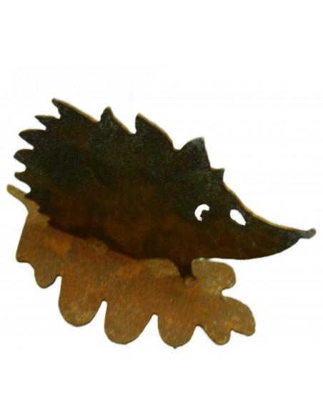 Rost Igel auf Eichenblatt h 10cm