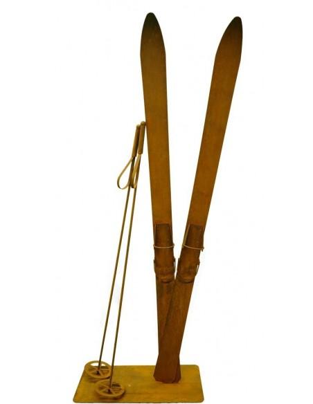 Deko Skier 145 cm lang inkl. Stöcke 4tlg. Rost Ski