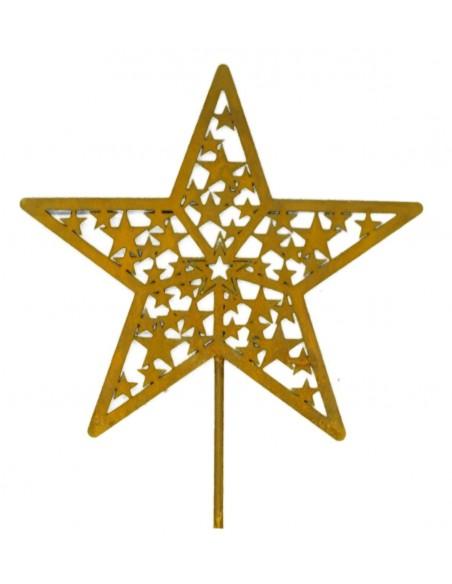 filigraner Rost Sternen Stecker 25 cm Durchmesser + Stab 60 cm