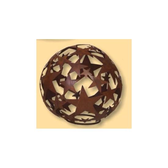 Sternenkugel -geschlossene Sterne- 30 cm Edelrost