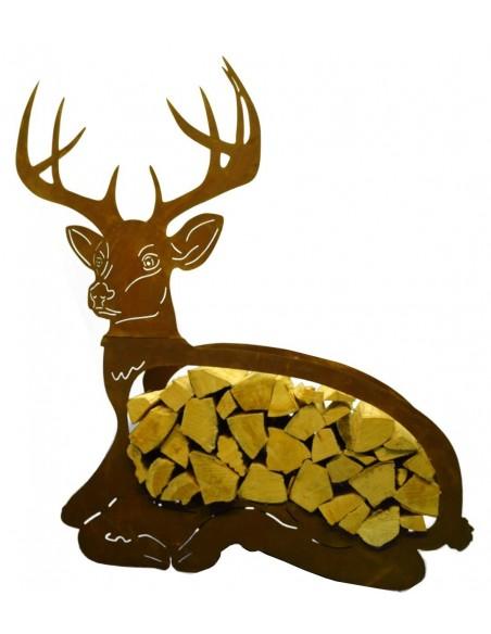 Edelrost Holzregal liegender Hirsch