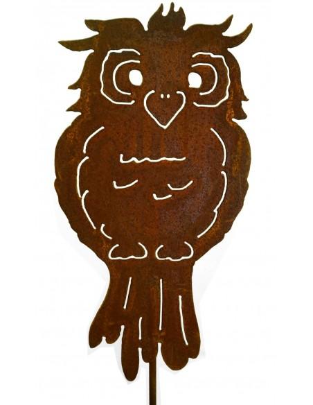 lustige Edelrost Eule auf Stab 40cm + Stab ca. 80 cm