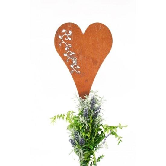 Herzstecker rostig Gartenstecker Metallherz