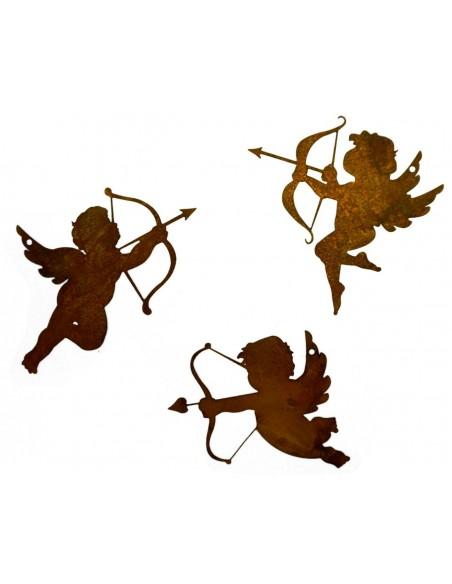 3 tlg. Edelrost Schutzengel -Amore- zum Aufhängen Metall Rost Engel zum aufhängen