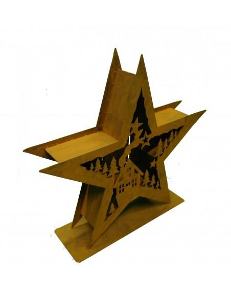 XXL Windlicht Stern doppelt mit Winterlandschaft 53 cm Durchmesser
