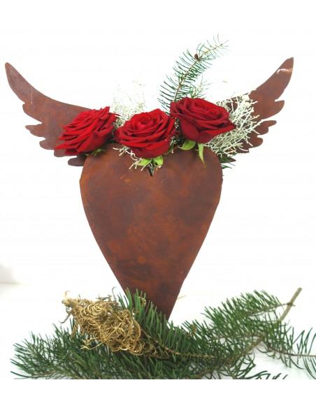 Herz  zum Bepflanzen mit Flügeln, auf Platte 44 cm hoch