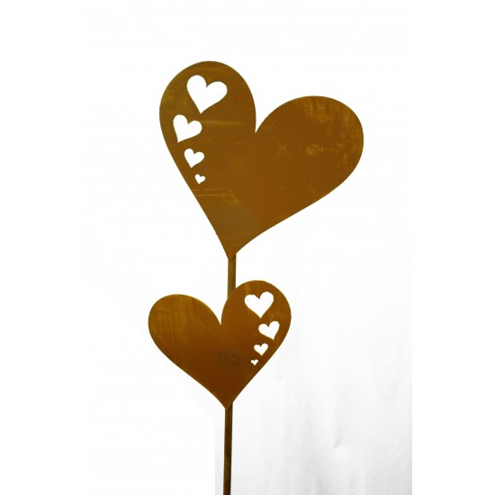 Herzstecker 2 Herzen mit Herzauschnitten