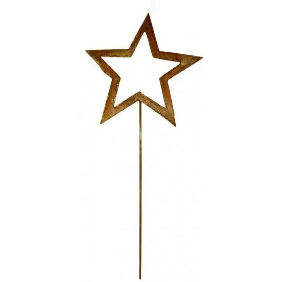 Rost Sternstecker offen Ø 20 cm symetrisch mit Stab 40 cm