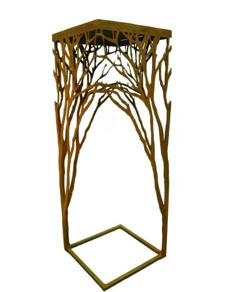 Edelrost Ast-Tisch 100 cm hoch , 35x35cm filigran und gleichzeitig stabil