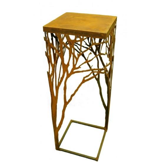 Edelrost Ast-Tisch 100 cm hoch , 35x35cm auch verwendbar als Gartentischchen