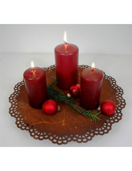 """Kerzenuntersetzer aus Edelrost als Spitzendecke """"Platte auf 3 Kugeln"""" Durchmesser ca.30 cm"""