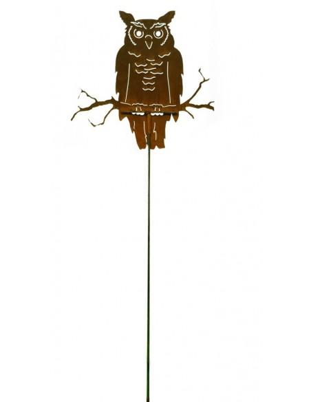 Rost Eule sitzend auf Ast - lebensgroß - mit Stab 100 cm