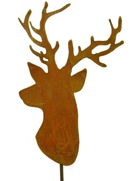 Rost Trophäe Hirschkopf zum Stecken, Höhe 29 cm zzgl. Stab 30 cm Saremo