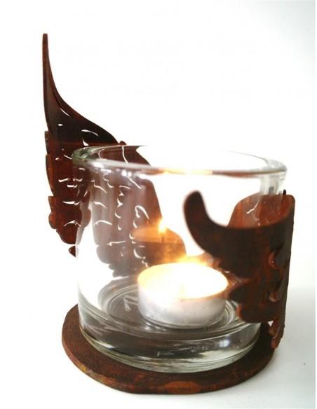 Edelrost Flügelchen halbrund gebogen auf Platte klein Ø 10 cm als Windlicht für Teelicht