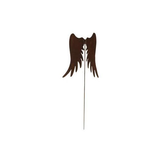 Rostige Engelsflügel 30 cm als Gartenstecker - 119 cm Gesamtlänge