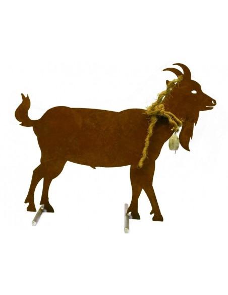 Edelrost Ziege mit Glocke 50 cm  - Mittel mit Querstangen