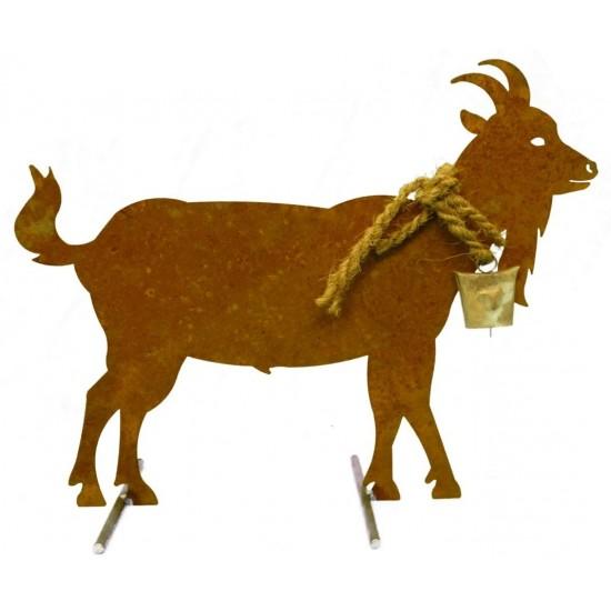 Edelrost Ziege mit Glocke 62 cm  - groß mit Querstangen
