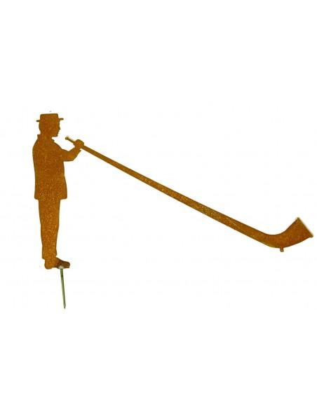 Deko Alphornbläser 40 cm breit Edelrost mit Nagel zur Befestigung auf Holz