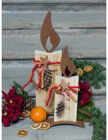 10er Set Rost Flammen 10 cm rostige Kerze basteln