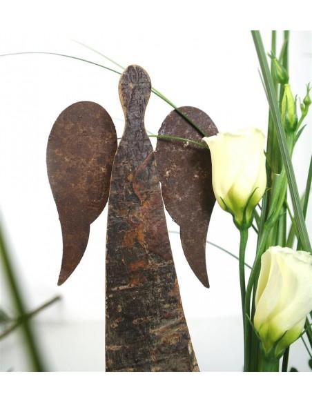 30 cm Rindenengel - Adad - mit rostigen Flügeln