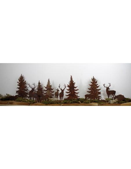 Edelrost WildStecker Set, 10 Tiere bis 16cm cm zum Einschlagen in Holz  Artikel WiStSet Hirsch und Rehe