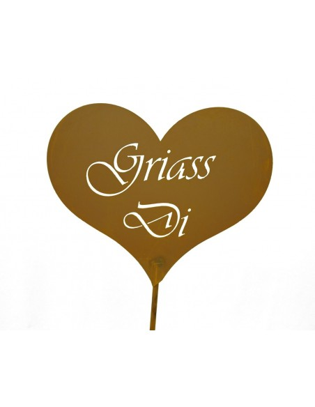 Griass Di Herz auf Stab 100 cm (moderne Schrift)