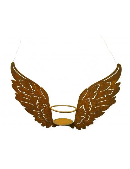 Rostige Flügelchen als Teelichthalter zum Aufhängen Breite 33cm, Höhe 20cm
