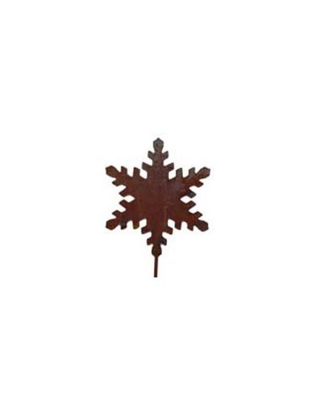 Rostiger Schneekristall auf Stab klein Kristallgartenstecker