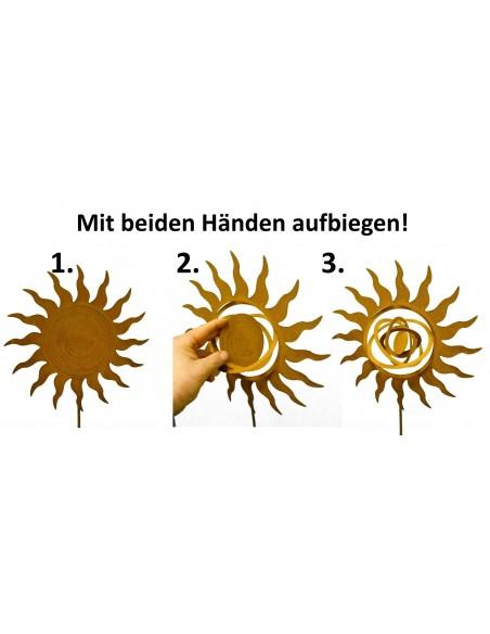 Rost Gartenstecker Planetensonne Edelrost Sonne Skulptur Ø 30 cm Rostige Sonne