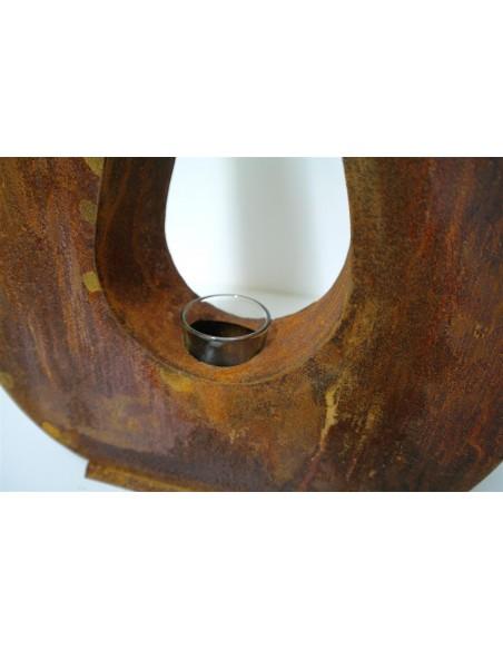 Edelrost Metallobjekt Feuer und Flamme 80 cm hoch inkl. Teelichtglas