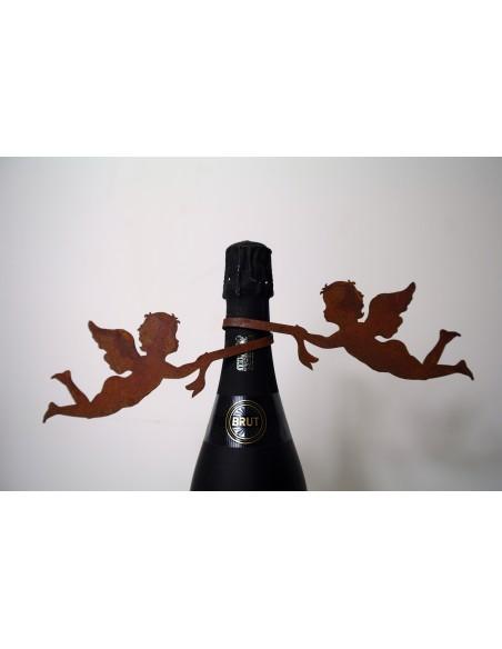2 Engel an Schleife zum Wickeln für Weinflasche